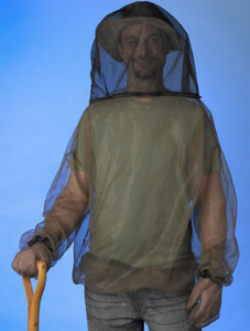 MOSQUITO NETTING:  CLOTHES (just Shirt [include gloves for hands - mittens or with fingers] &/or for head - with zipper at mouth) •  Head only [with zipper at mouth]  •  Shirt & Pants [drawstring for pants]  •   •  for a Sleeping Bag (to tie to a tree or   •  around a baby crib•carrier•stroller)
