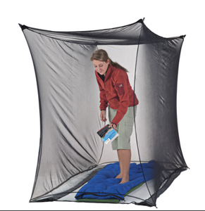 MOSQUITO NETTING:  CLOTHES (include gloves for hands [with or without fingers] & for head - with zipper at mouth)  •  around a sleeping bag (to tie to a tree or   •  around a baby crib•carrier•stroller
