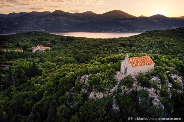 L'archipel des Elaphites en Croatie. L'île de Sipan. L'Eglise Saint-Nicolas