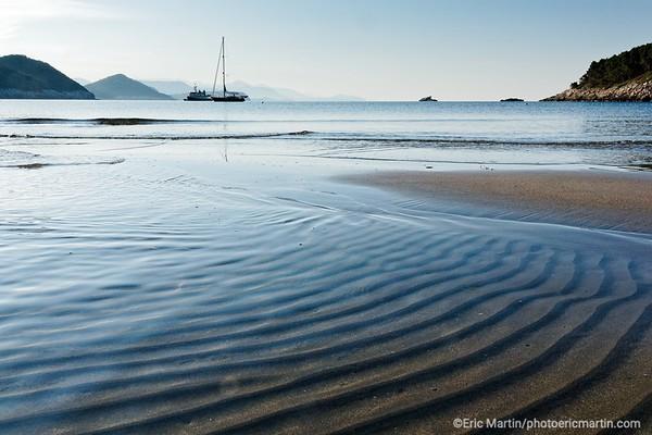 L'archipel des Elaphites en Croatie. Ile de Lopud. La plage de Sunj de l'autre côté de l'île de Lopud. C'est l'une des très rares plages de sable de la région.