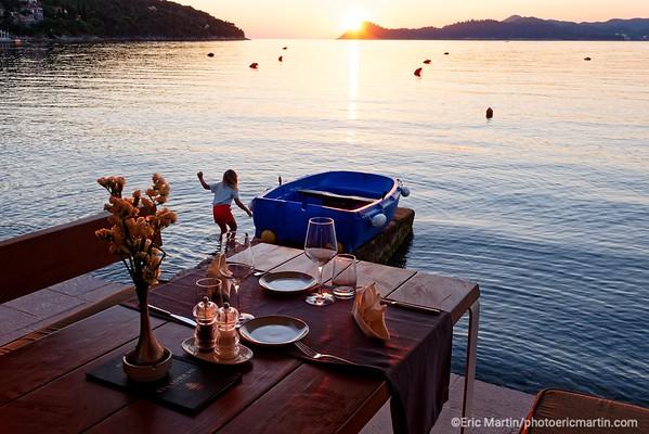 L'archipel des Elaphites en Croatie. Ile de Lopud. Le restaurant Dubrovnik.
