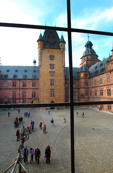 Aschaffenburg Germany, View on Castle Courtyard