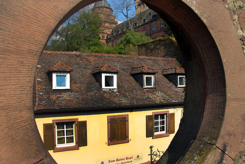 Aschaffenburg Germany, View through Medieval Wall