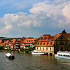 Bamberg Germany, View on the Regnitz River Shoreline