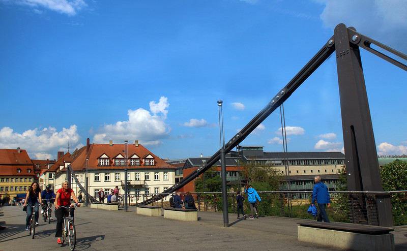 Bamberg Germany, Bicylists on Bridge
