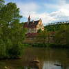 Bamberg Germany, View on Baroque Building from River Bank