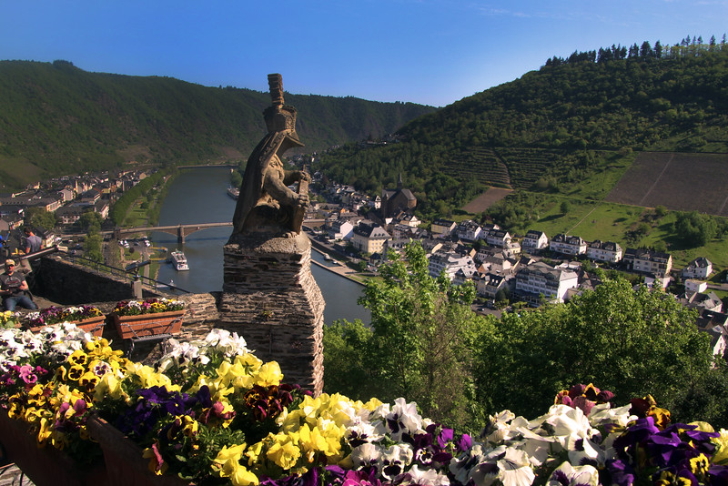 Cochem Germany, View on Mosel River from Reichsburg Castle