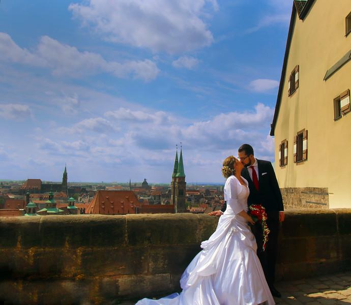 Nuremberg Germany, Wedding Couple, Old Wall