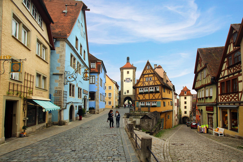 Rothenburg ob der Tauber, Plönlein with Kobolzeller Steige and Spitalgasse
