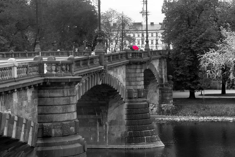 Prague, Czech Republic, Bridge in Rain, BW