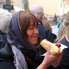 Prague, Czech Republic, Enjoying a Traditional Sausage