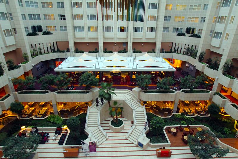 Prague, Czech Republic, View on Lobby of Hilton Prague