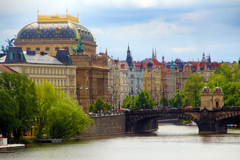 Prague, Czech Republic, Colorful Buildings from Charles Bridge