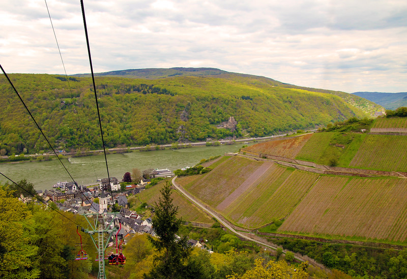Rüdesheim Germany,  View on Assmannshausen from Cable Car Above