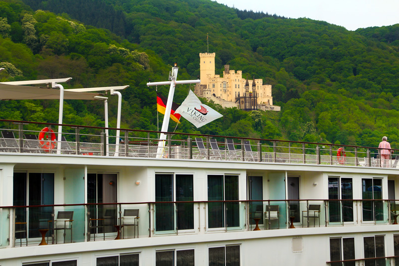 Viking River Cruise, Middle Rhine, View on Viking Idun and Castle