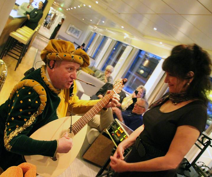 Viking River Cruise, Folk Performer Serenading Passenger