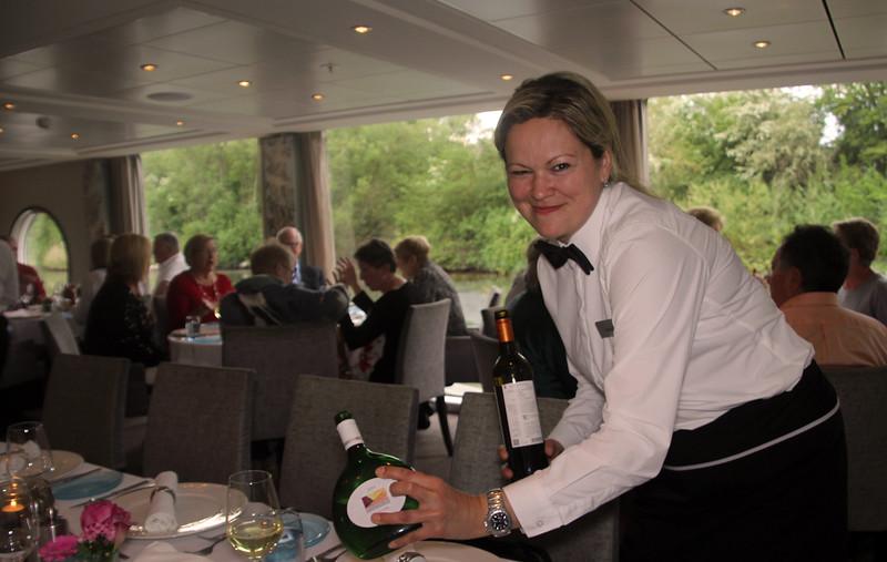 Viking River Cruise, Smiling Server Pouring Wine