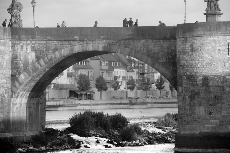Würzburg Germany, Old Main Bridge, black white