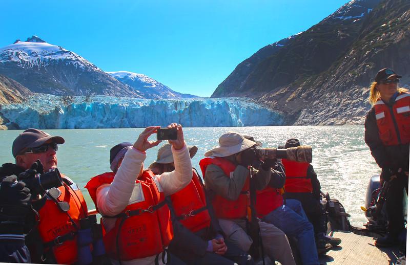 Un-Cruise Adventures, Dawes Glacier Excursion, Guide and Passengers