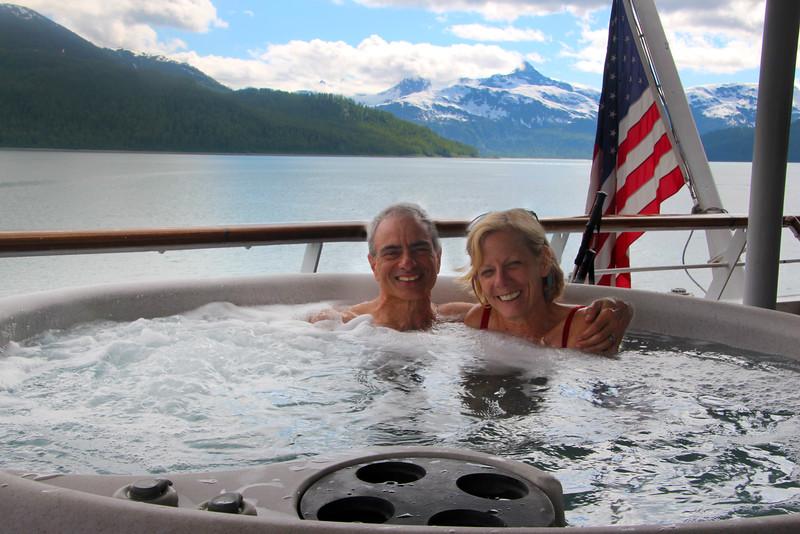 Un-Cruise Adventures, Couple Enjoying Hot Tub, Geikie Inlet, Glacier National Park