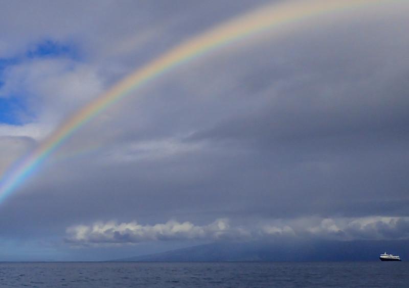 Hawaii, UnCruise Adventures, Rainbow over Safari Explorer