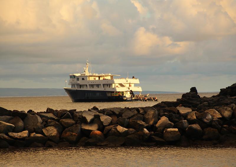 Hawaii, UnCruise Adventures, Safari Explorer Docked at Sunset, Lanai Island