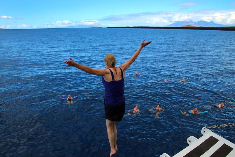Hawaii, UnCruise Adventures, Passenger Jumping off Top Deck