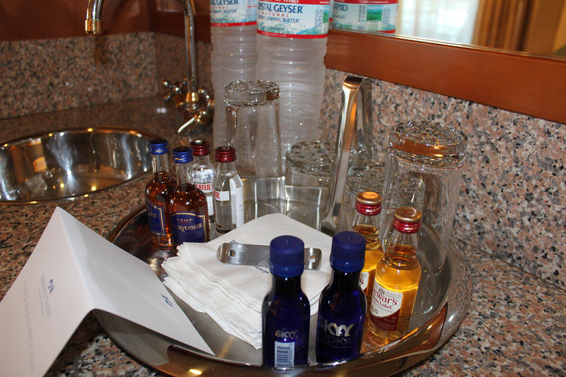 complimentary (mini) bar setup - we traded out the others for Skyy.