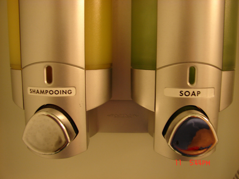 I checked with some others, and their shampoo dispenser was not labeled as ours was!