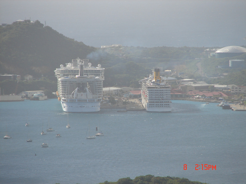 Oasis of the Seas - docked in Crown Bay (It's the one on the left... LOL)