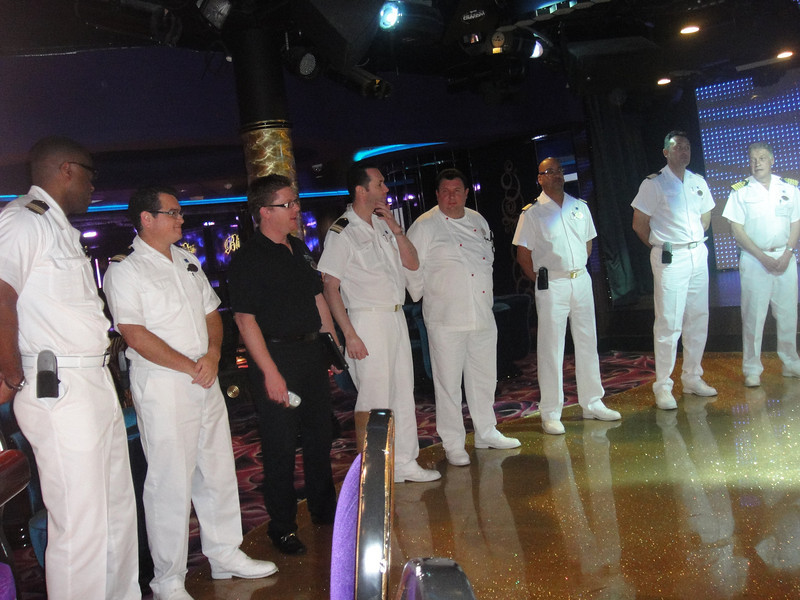 The senior staff took turns talking to the Cruise Critic group during the Meet-n-Greet