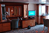 Flat Screen TV w/DVD player. Plenty of storage space. Actually WAY overkill for a ship which sails 3 and 4 night routes!!