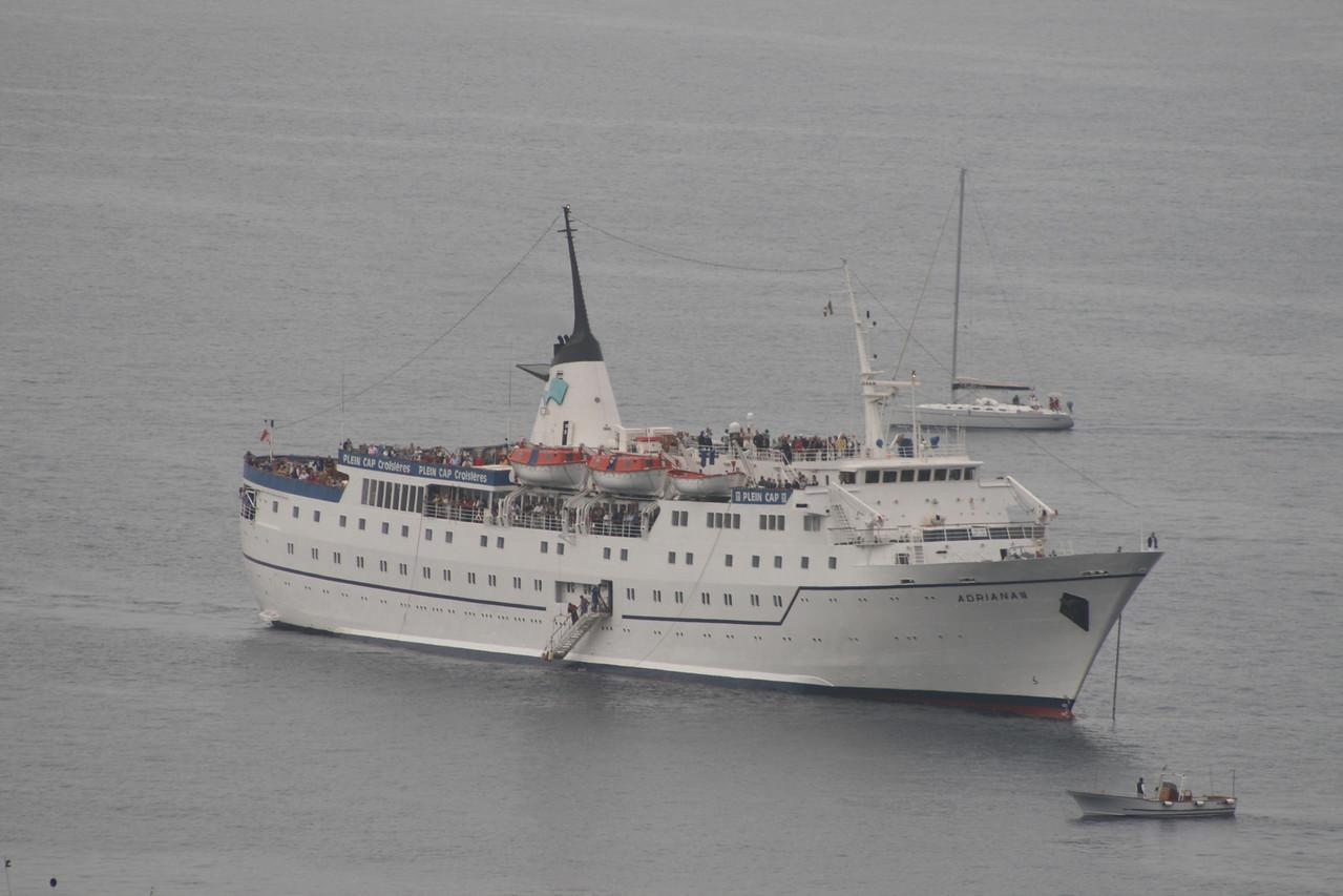 The small ADRIANA cruise ship offshore Capri.