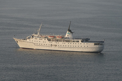 The small ADRIANA cruise ship offshore Capri.