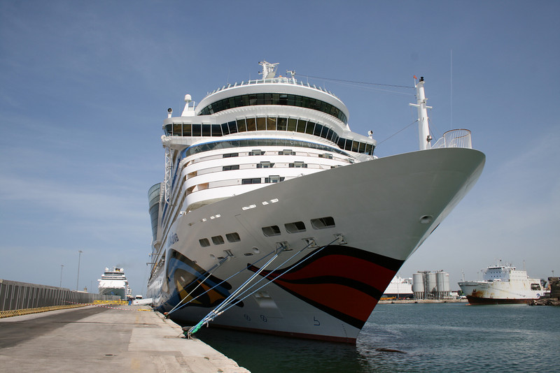 AIDA DIVA moored in Civitavecchia : front view.