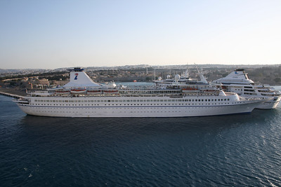 AQUAMARINE moored in Rodos. At the other pier GEMINI.