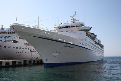 AQUAMARINE moored in Kusadasi. At the other pier GEMINI.