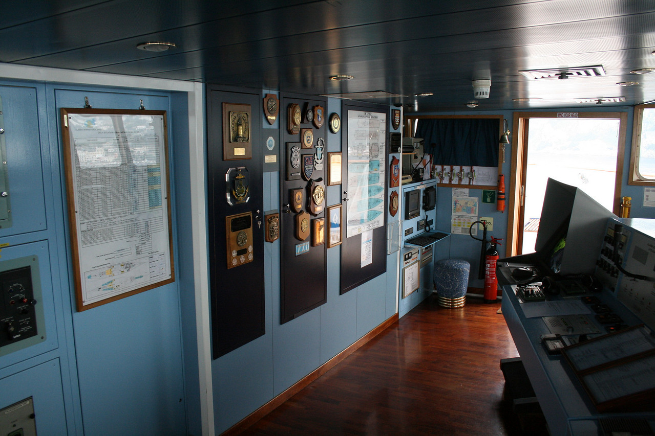 On board M/S ATHENA : the bridge.