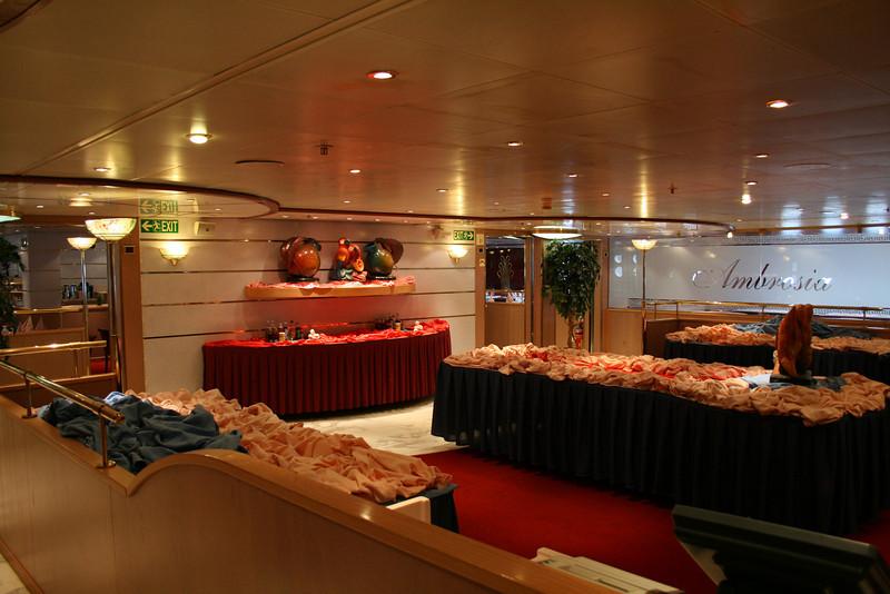 On board M/S ATHENA : restaurant buffet area.