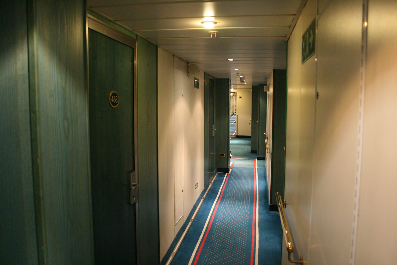On board M/S ATHENA : cabin corridor, Mediterranean deck.