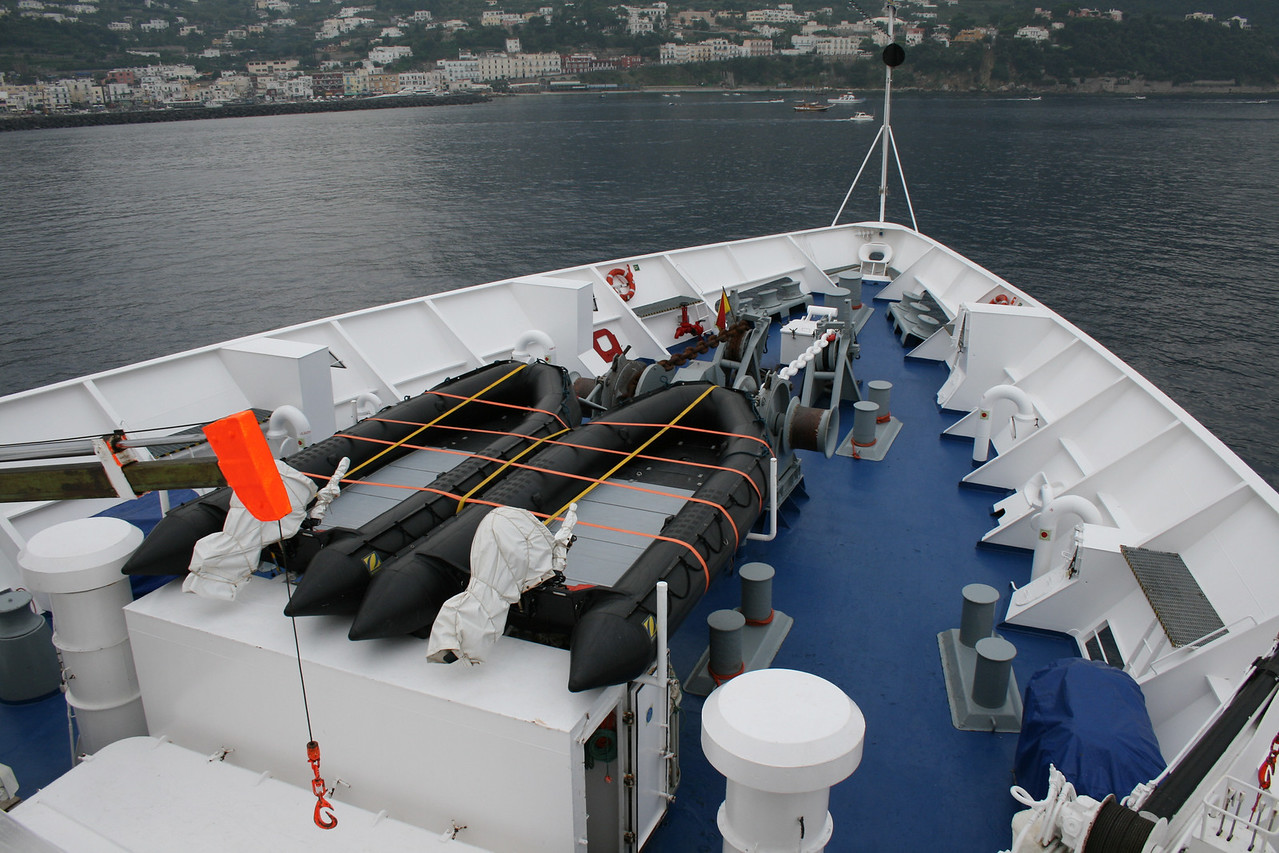 On board M/S ATHENA : bow operating station.