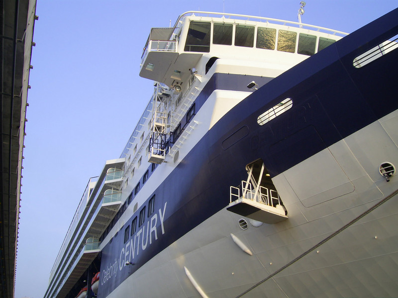 M/S CELEBRITY CENTURY moored in Napoli. Mooring station and bridge wing.