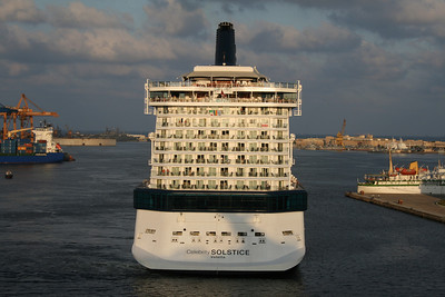 2009 - M/S CELEBRITY SOLSTICE maneuvering in Alexandria at sunrise.