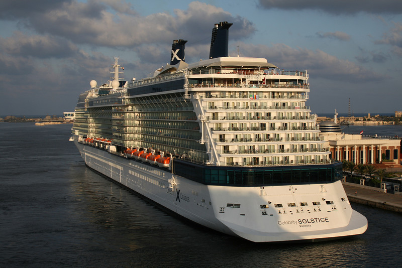 2009 - M/S CELEBRITY SOLSTICE mooring in Alexandria at sunrise.