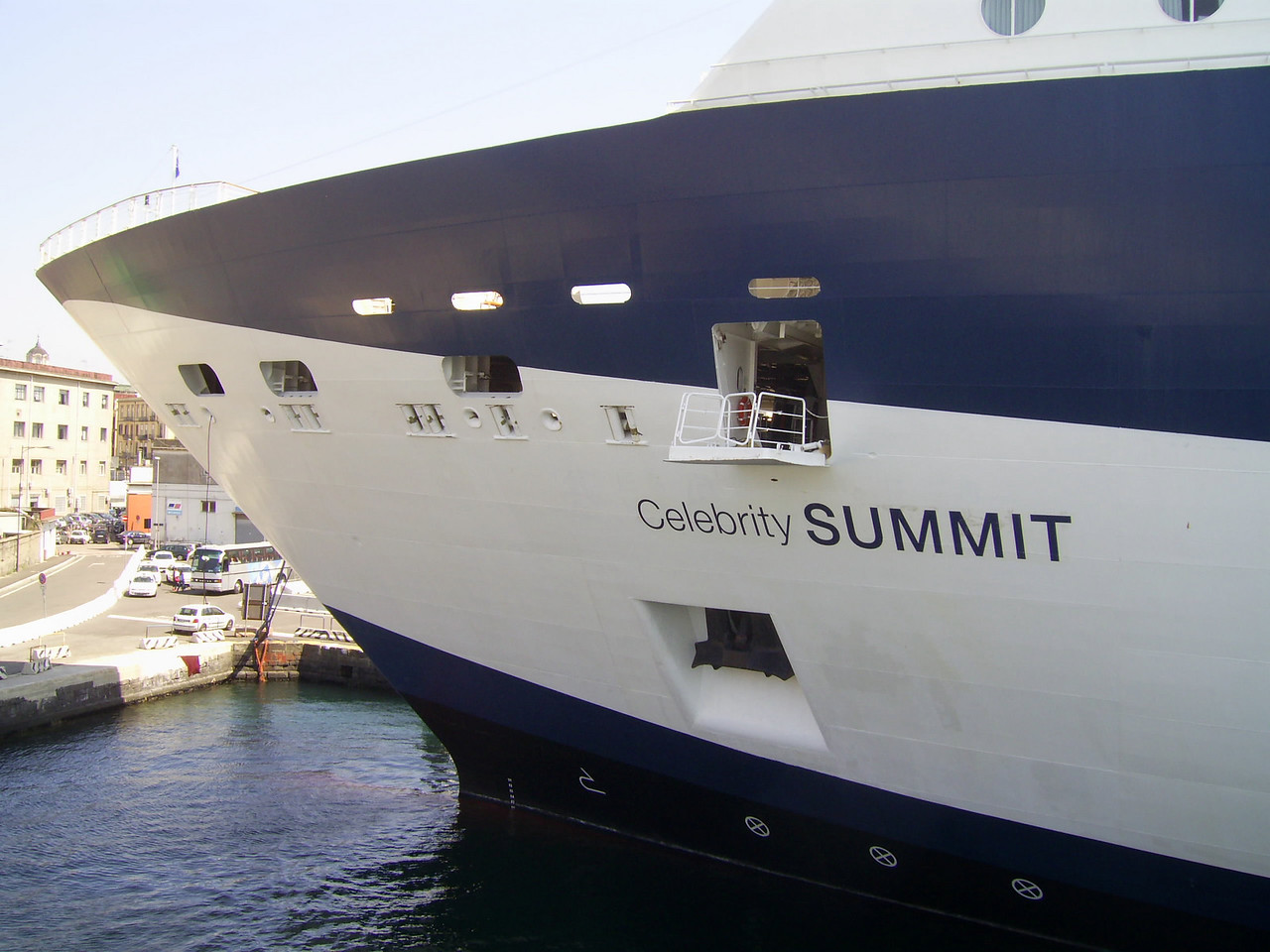 GTS CELEBRITY SUMMIT moored in Napoli by bow.