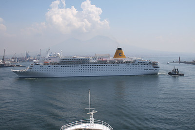 M/S COSTA EUROPA maneuvering in Napoli helped by a tug.