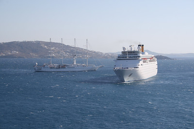 M/S COSTA ROMANTICA offshore Mykonos with WIND SPIRIT.
