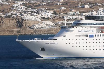 M/S COSTA ROMANTICA offshore Mykonos.