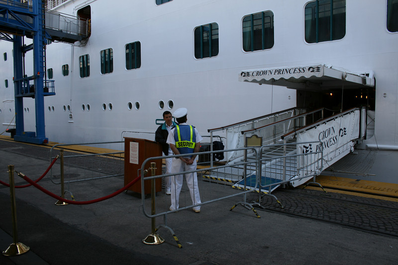 M/S CROWN PRINCESS in Napoli. Crew's gangway.