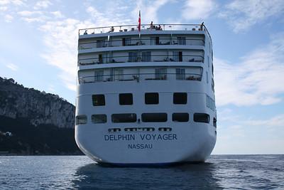 M/S DELPHIN VOYAGER offshore Capri. Stern view.